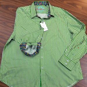 NWT Robert Graham Shirt Green Stripes Pattern 3XL